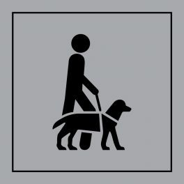 "Pictogramme PI PF 046 ""Accessibilité, chien de guide ou d'assistance"" en Gravoply ISO 7001"