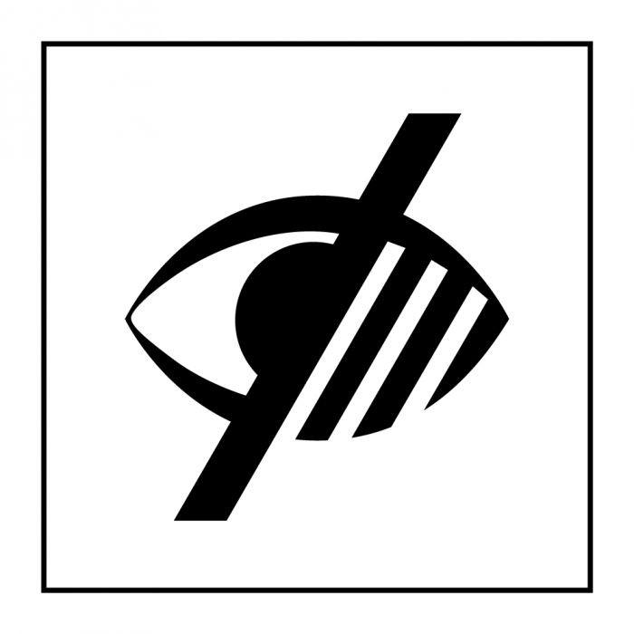 """Pictogramme PI PF 049 """"Accessibilité, malvoyant"""" en Gravoply ISO 7001"""