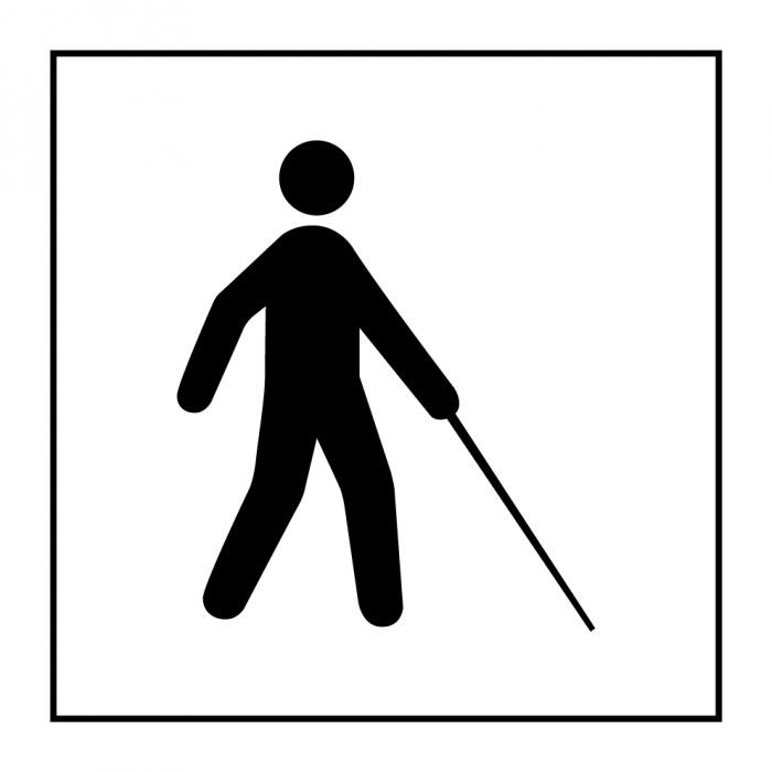 "Pictogramme PI PF 051 ""Accessibilité, malvoyant ou aveugle"" en Gravoply ISO 7001"