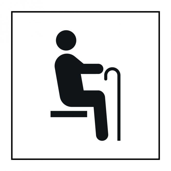"""Pictogramme PI TF 022 """"Siège prioritaire pour personnes âgées"""" en Gravoply ISO 7001"""