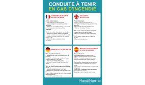 Poster A3 - Conduite à tenir en cas d'incendie - 4 langues
