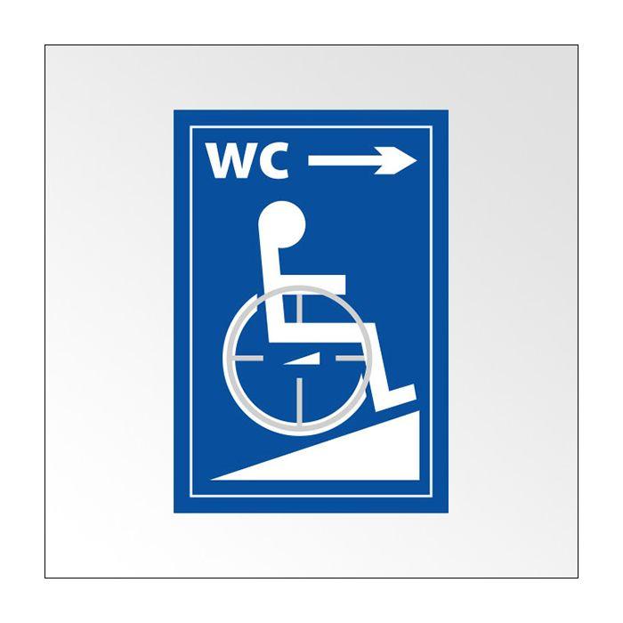 Panneau braille WC picto Handicapé + flèche droite