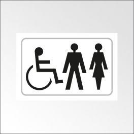 Panneau Picto Handicapé + HOMME + FEMME - relief et en braille
