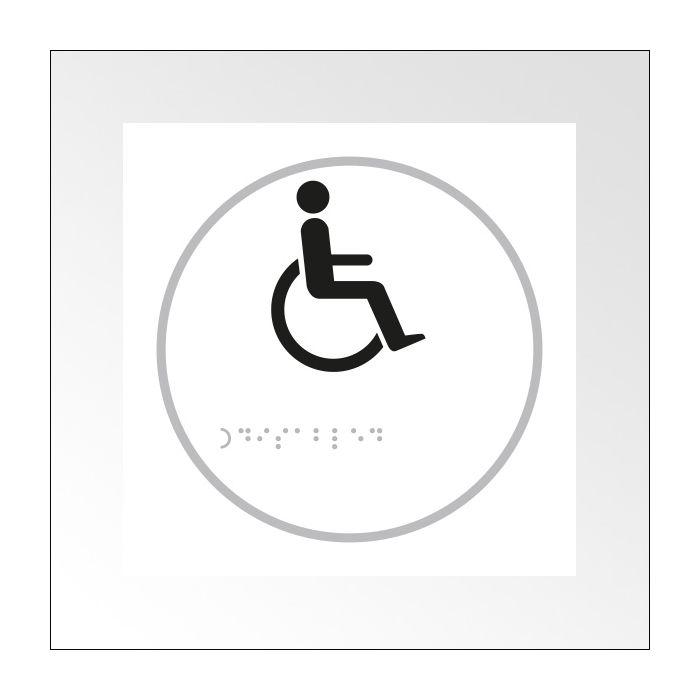 Panneau picto Handicapé - relief et braille