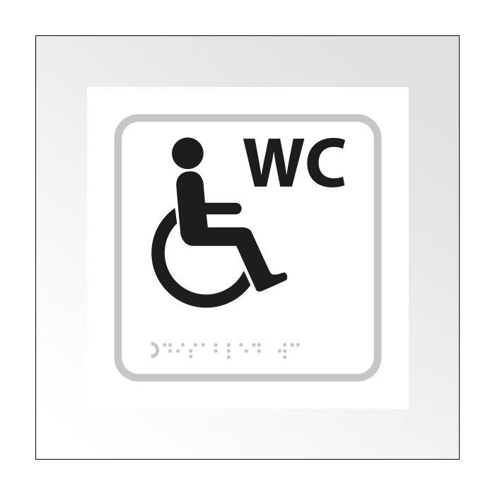 Panneau WC relief et braille + picto Handicapé