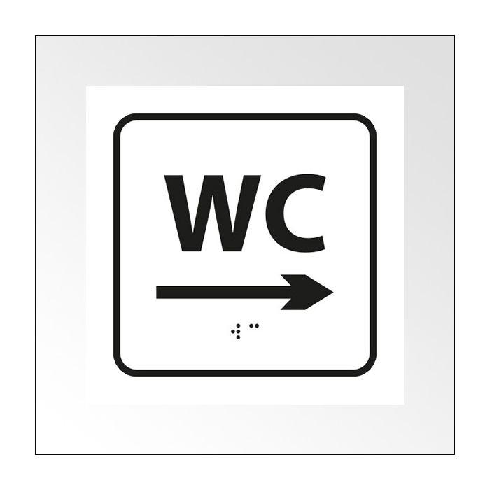 Panneau en relief et en braille - WC, flèche droite BLANC