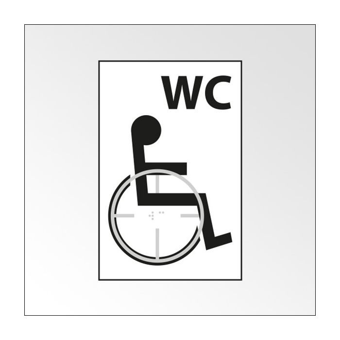 Panneau WC picto Handicapé - relief et braille