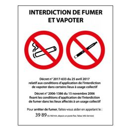 Panneau Interdiction de fumer et vapoter - PVC ou autocollant