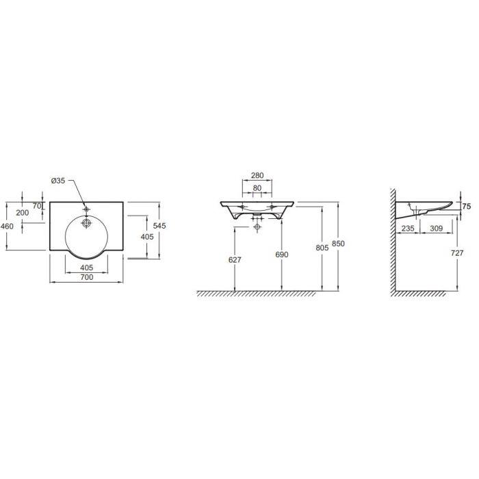 Vasque lavabo Design PMR 70 x 54 cm - En céramique - Blanc ...