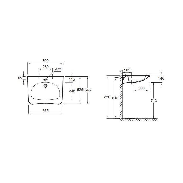 Vasque Lavabo Handilav Pmr En Céramique Blanc Dimensions 70
