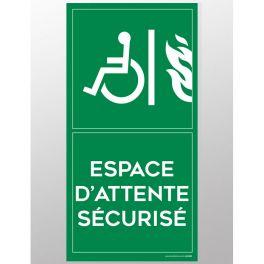 Panneau signalétique Espace d'attente sécurisé