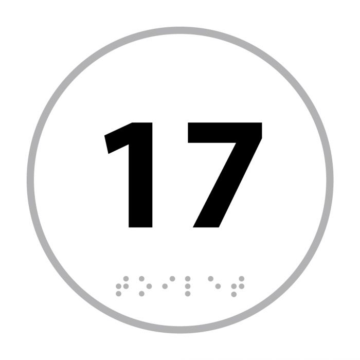 """Panneau En Relief Et En Braille """"Numéro 17"""""""