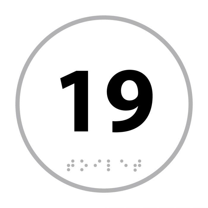 Panneau porte - NUMERO 19 - relief et braille
