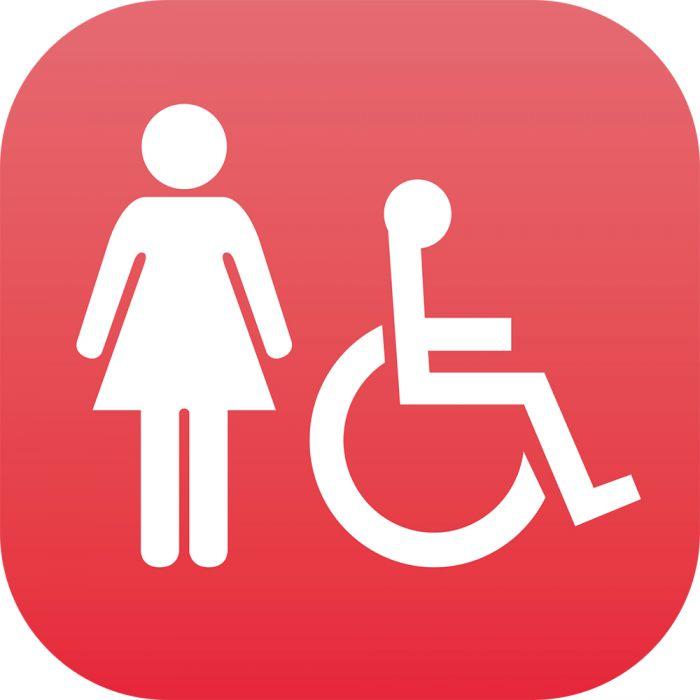 Plaque Signalétique en drapeau PLEXI - Femme + PMR