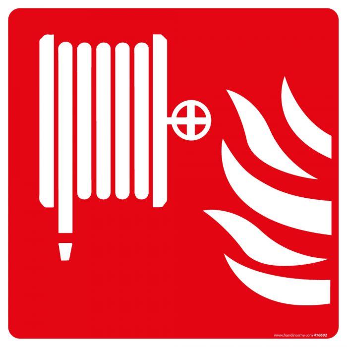 Panneau incendie carré RIA symbole blanc avec fond rouge