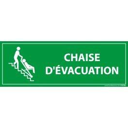 """Panneau rectangulaire d'information """"Chaise d'évacuation"""""""