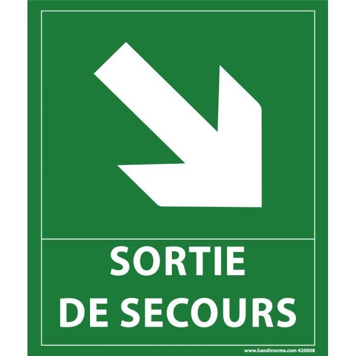 """Panneau """"sortie de secours""""- flèche bas à droite - 300 x 250 mm"""