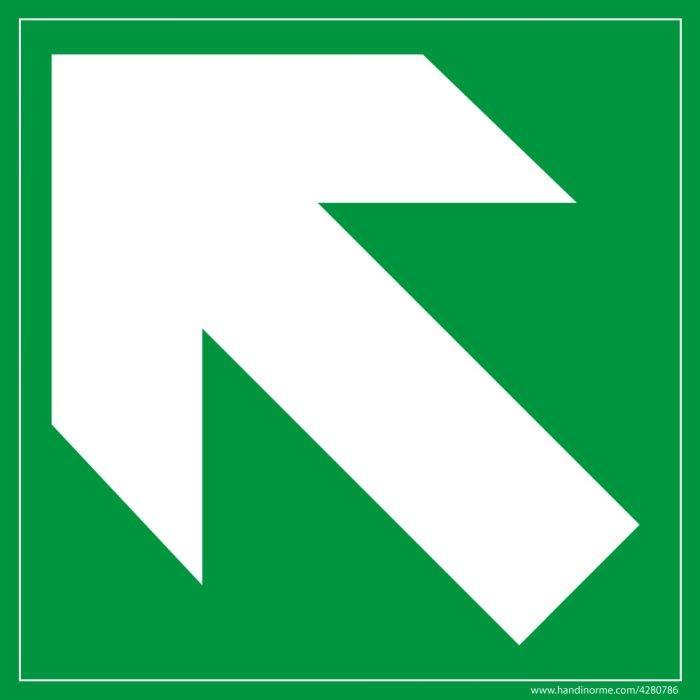 Signalétique Evacuation flèche diagonale en haut à gauche