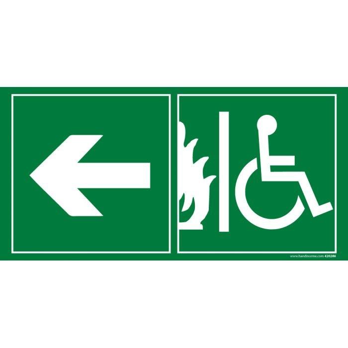 Panneau évacuation pour handicapé Sortie de secours gauche