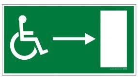 Panneau - Sortie de secours - droite + picto Handicapé