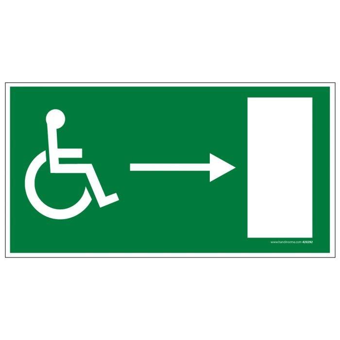 """Panneau """"Sortie de secours"""" droite + picto Handicapé"""