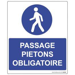 Panneau rectangulaire de sécurité passage piéton obligatoire