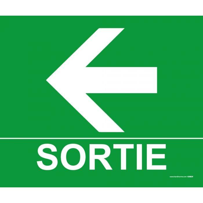 Panneau Sortie Flèche gauche -300 x 250 mm- Photoluminescent