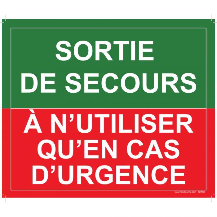 Panneau Evacuation incendie - Sortie de secours, à n'utiliser qu'en cas d'urgence -300 x 250 mm