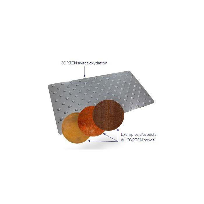 Dalle podotactile en acier corten