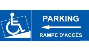 Signalisation handicapé - Parking, rampe accès - Flèche gauche