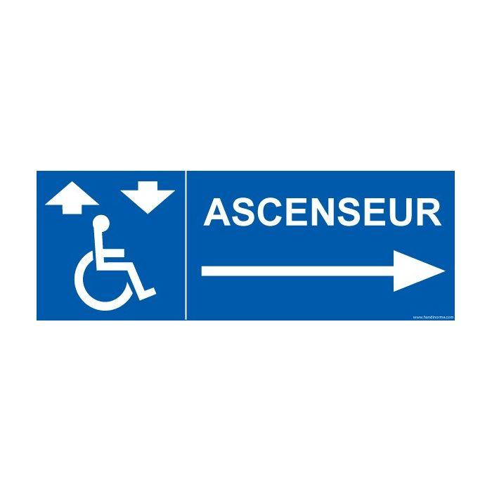 """Signalisation """"Ascenseur"""" flèche droite"""