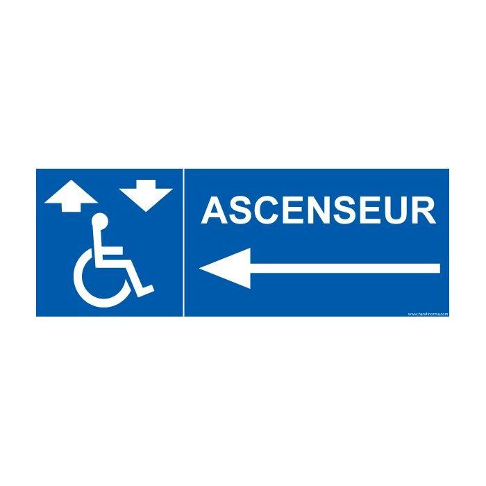 """Signalisation handicapé """"Ascenseur"""" flèche gauche"""