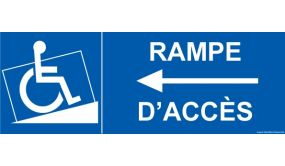"""Signalisation """" Rampe Accès"""" handicapé flèche à gauche"""