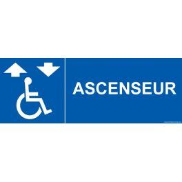 """Signalisation """"Ascenseur"""" + picto Handicapé"""