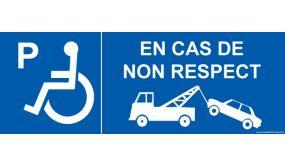 Signalisation P handicapé - En cas de non respect