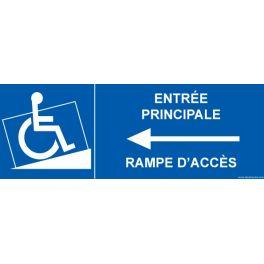 """Signalisation """"Entrée principale PMR, flèche à gauche"""""""
