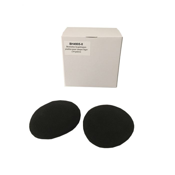 Bonnette hygiénique noire jetable (10 paires) pour casque light