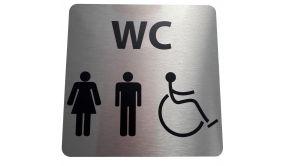 Pictogramme en aluminium brossé WC Homme / Femme / PMR - 15 x 15 cm