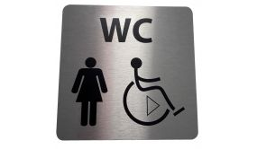 Picto de porte en aluminium brossé WC Femme / PMR avec sens de transfert - 15 x 15 cm
