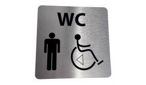 Pictogramme WC Homme / PMR + transfert Gauche ou droite - 15 x 15 cm - alu brossé