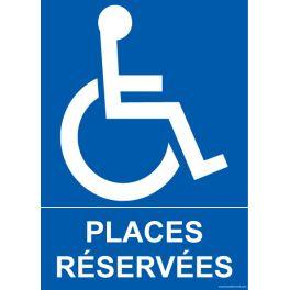 """Panneau Parking """"places réservées"""" + Picto handicapé"""