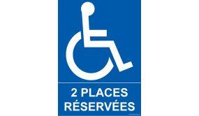 Panneau Parking - 2 places réservées - + Picto Handicapé