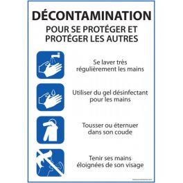 Panneau Décontamination - consignes pour se protéger et protéger les autres