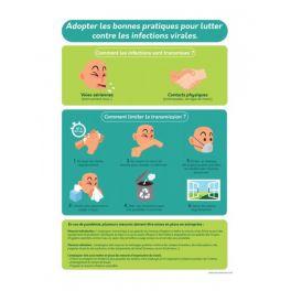 """Poster """"Bonnes pratiques contre les infections virales"""" - A4 - Vinyle /PVC"""