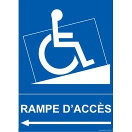 """Panneau handicapé """"Rampe Accès"""" Flèche gauche"""
