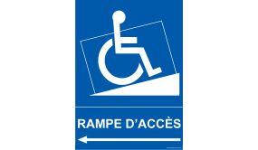 Panneau handicapé - Rampe Accès - Flèche gauche
