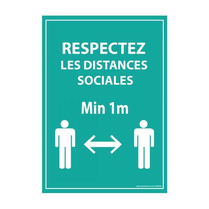 Panneau Respectez vos distances bleu - Autocollant/PVC - A5/A4