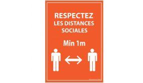 Panneau Respectez vos distances orange Autocollant/PVC dos adhesif A5/A4