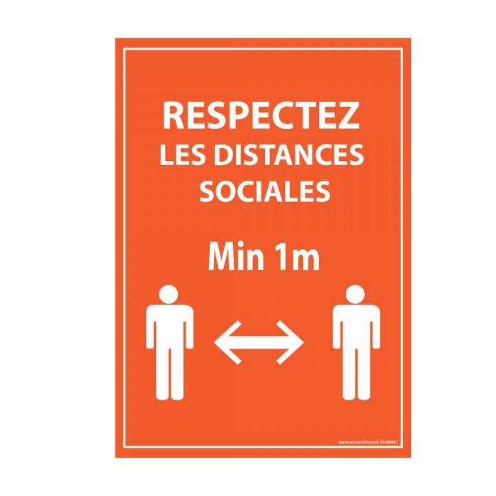 Panneau Respectez vos distances orange Autocollant/PVC dos adhesif A5/14