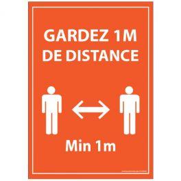 Panneau Gardez 1m de distance orange - Autocollant/PVC dos adhesif - A5/A4